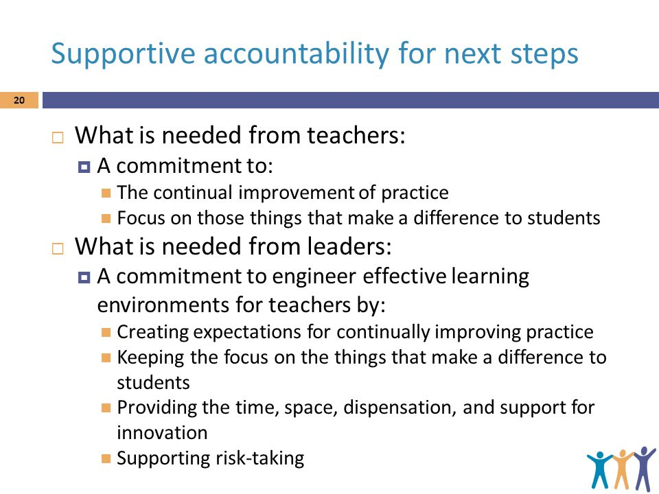 Supportive accountability for next steps