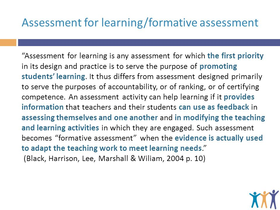 Assessment for learning/formative assessment