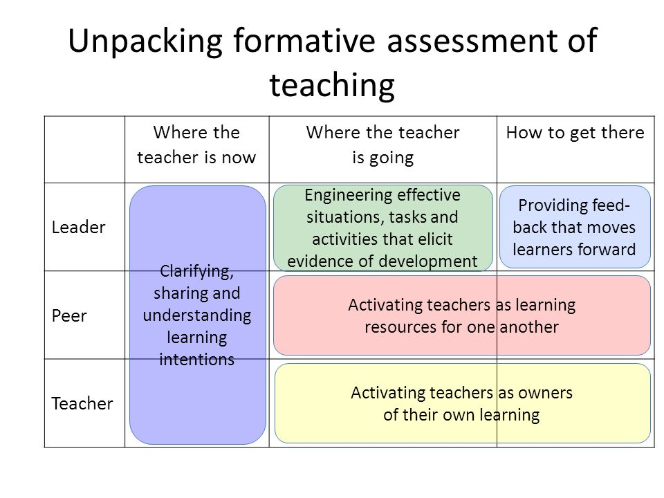 Unpacking formative assessment of teaching