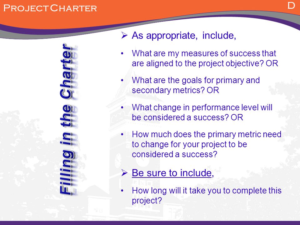 Goal/Objective considerations