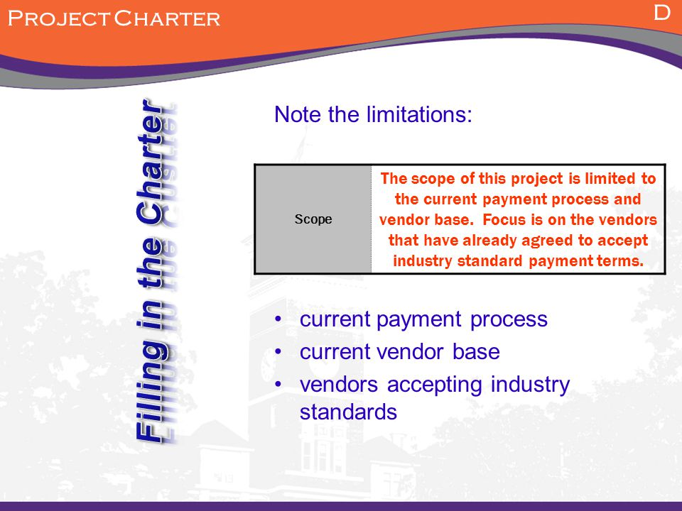 Filling in the Charter D Project Charter Note the limitations: