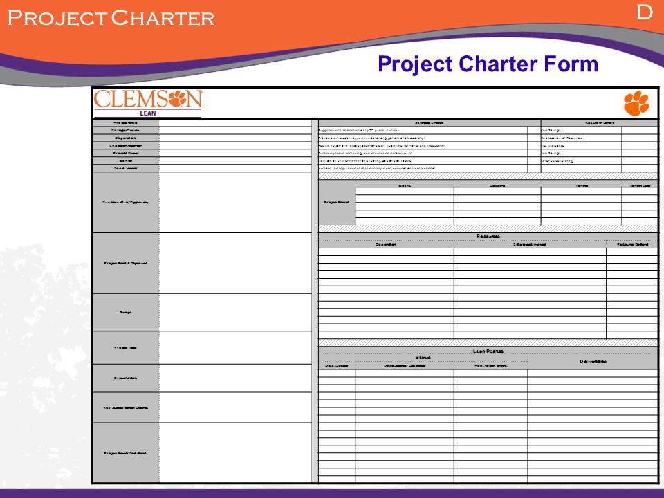 D Project Charter Project Charter Form Resources Lean Progress Status
