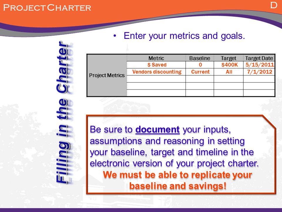 Project metrics, example