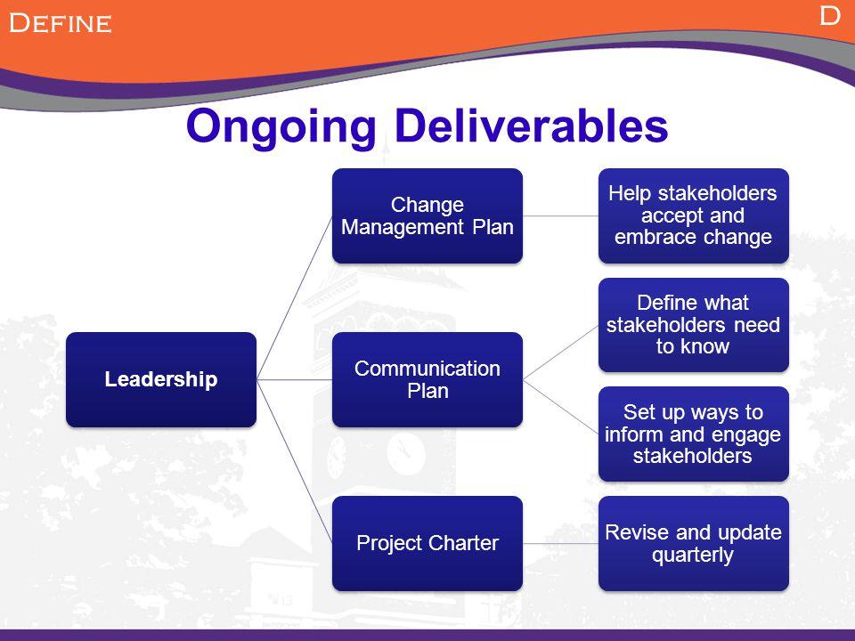 Ongoing Deliverables D Define Leadership Change Management Plan