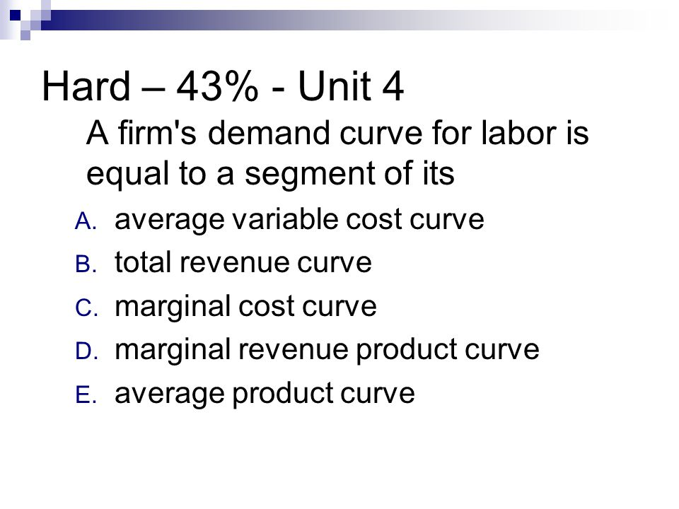 Hard – 43% - Unit 4 A firm s demand curve for labor is equal to a segment of its. average variable cost curve.