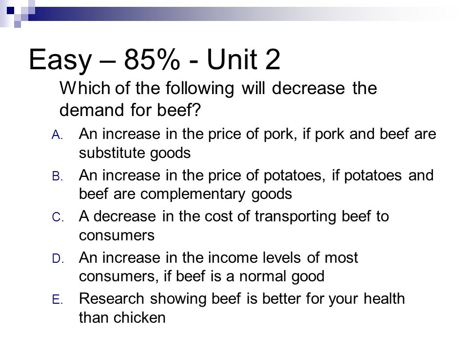 Easy – 85% - Unit 2 Which of the following will decrease the demand for beef