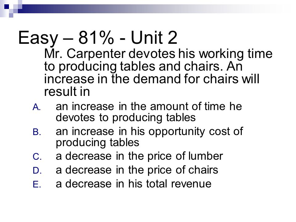 Easy – 81% - Unit 2 Mr. Carpenter devotes his working time to producing tables and chairs. An increase in the demand for chairs will result in.
