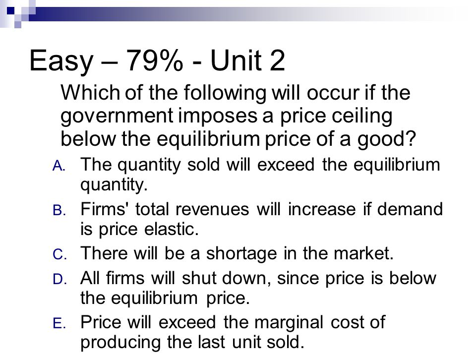 Easy – 79% - Unit 2 Which of the following will occur if the government imposes a price ceiling below the equilibrium price of a good