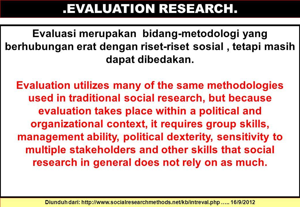 .EVALUATION RESEARCH. Evaluasi merupakan bidang-metodologi yang berhubungan erat dengan riset-riset sosial , tetapi masih dapat dibedakan.