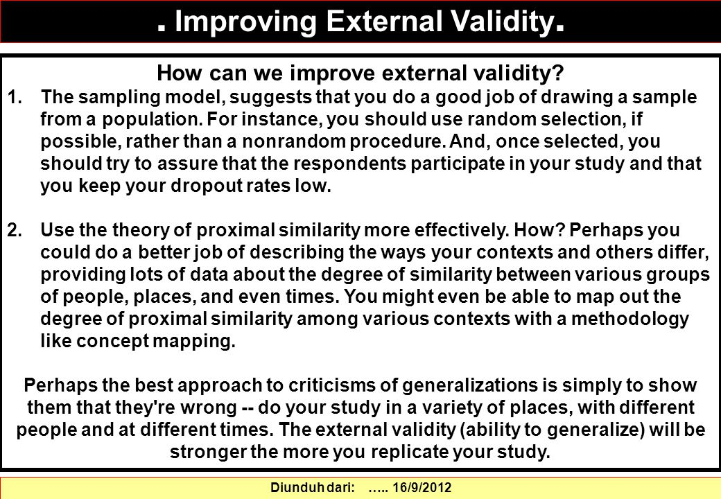 How can we improve external validity