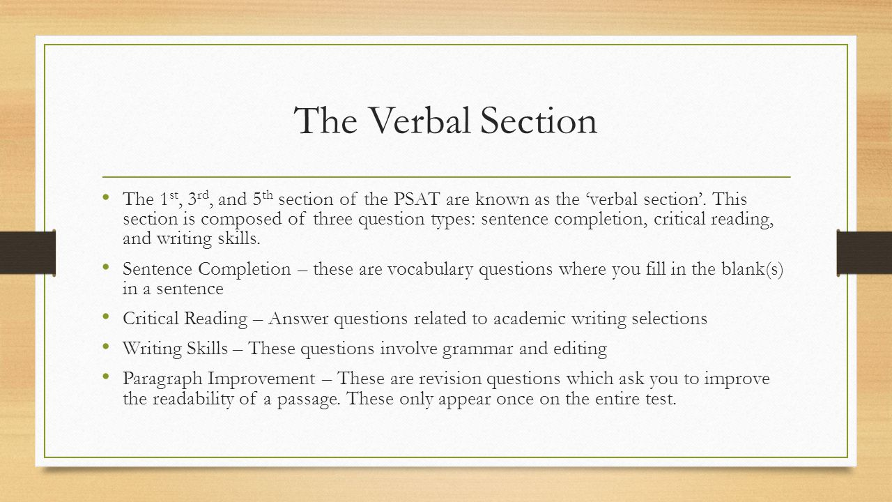 The Verbal Section