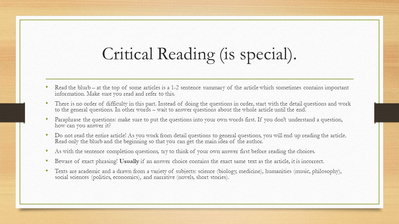 Critical Reading (is special).