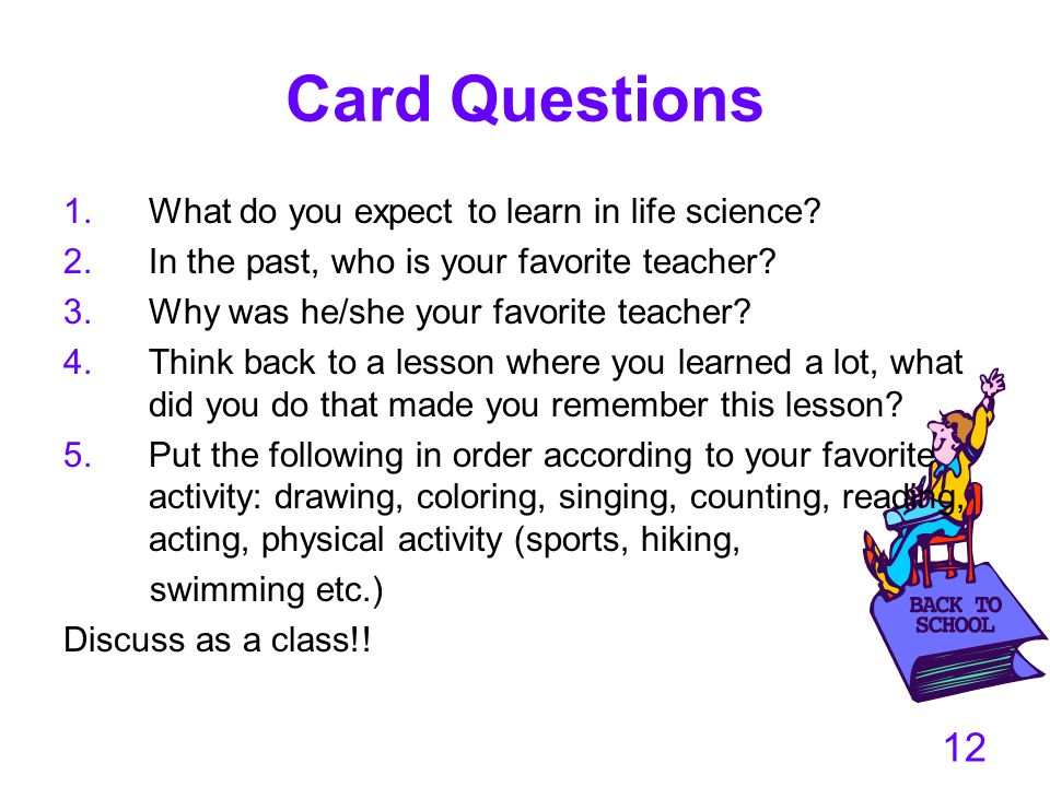 Card Questions What do you expect to learn in life science