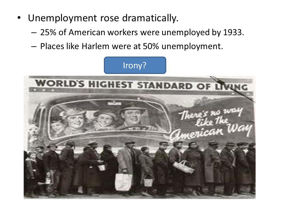 Unemployment rose dramatically.