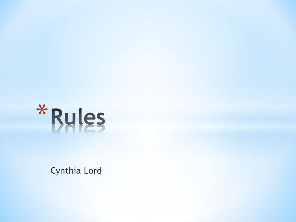 Rules Cynthia Lord