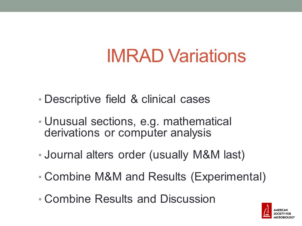 IMRAD Variations Descriptive field & clinical cases