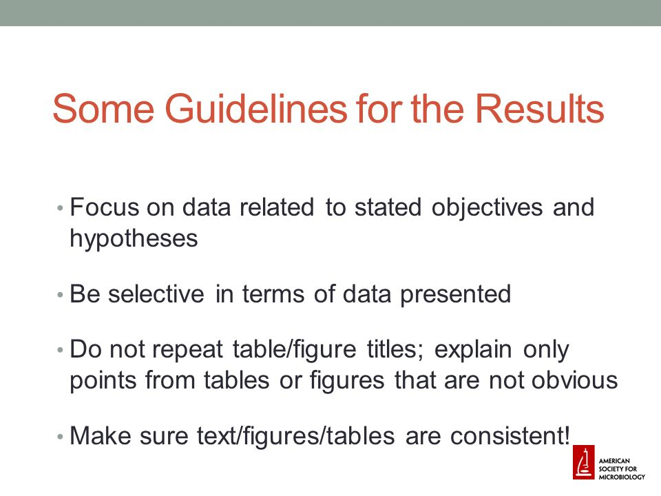 Some Guidelines for the Results