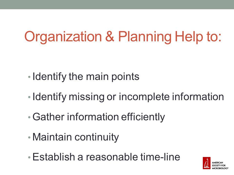 Organization & Planning Help to: