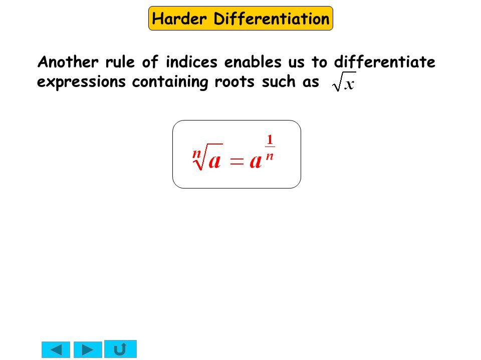 Another rule of indices enables us to differentiate expressions containing roots such as