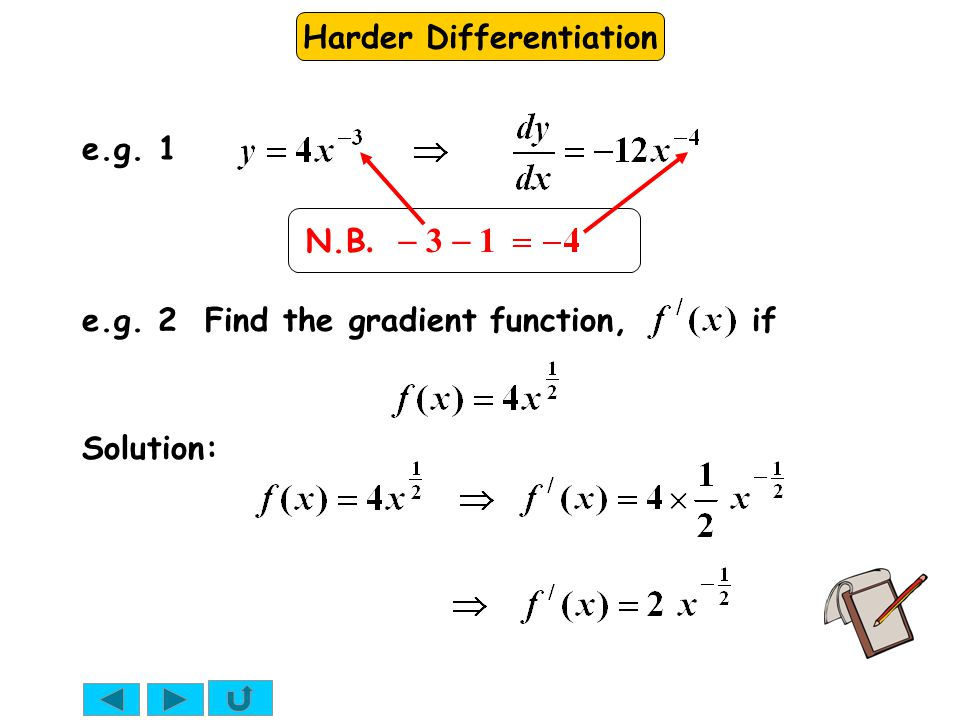 e.g. 1 N.B. - 3 - 1 e.g. 2 Find the gradient function, if Solution: