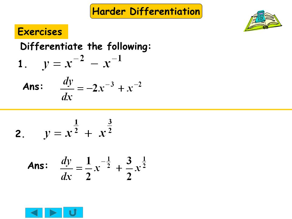 Exercises Differentiate the following: 1. Ans: 2. Ans: