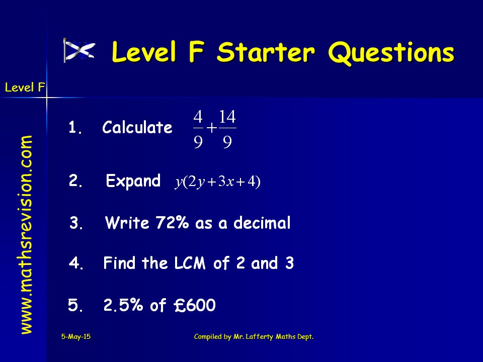 Level F Starter Questions
