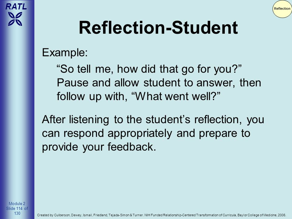 Reflection-Student Example: