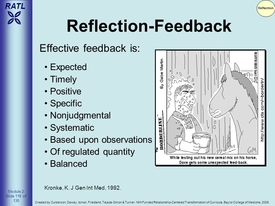 Reflection-Feedback Effective feedback is: Expected Timely Positive