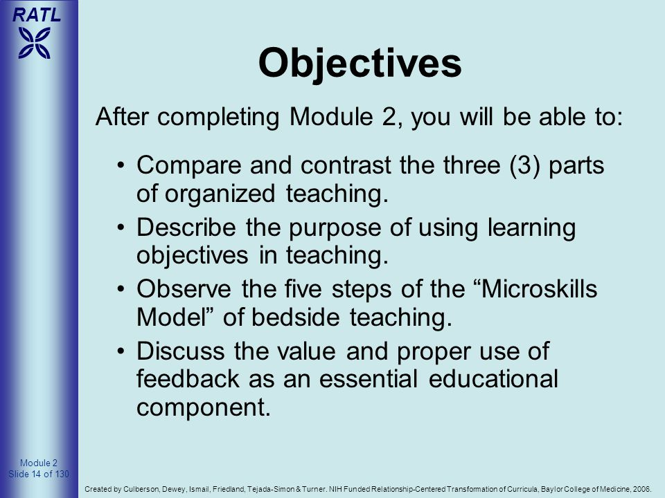 Objectives After completing Module 2, you will be able to: