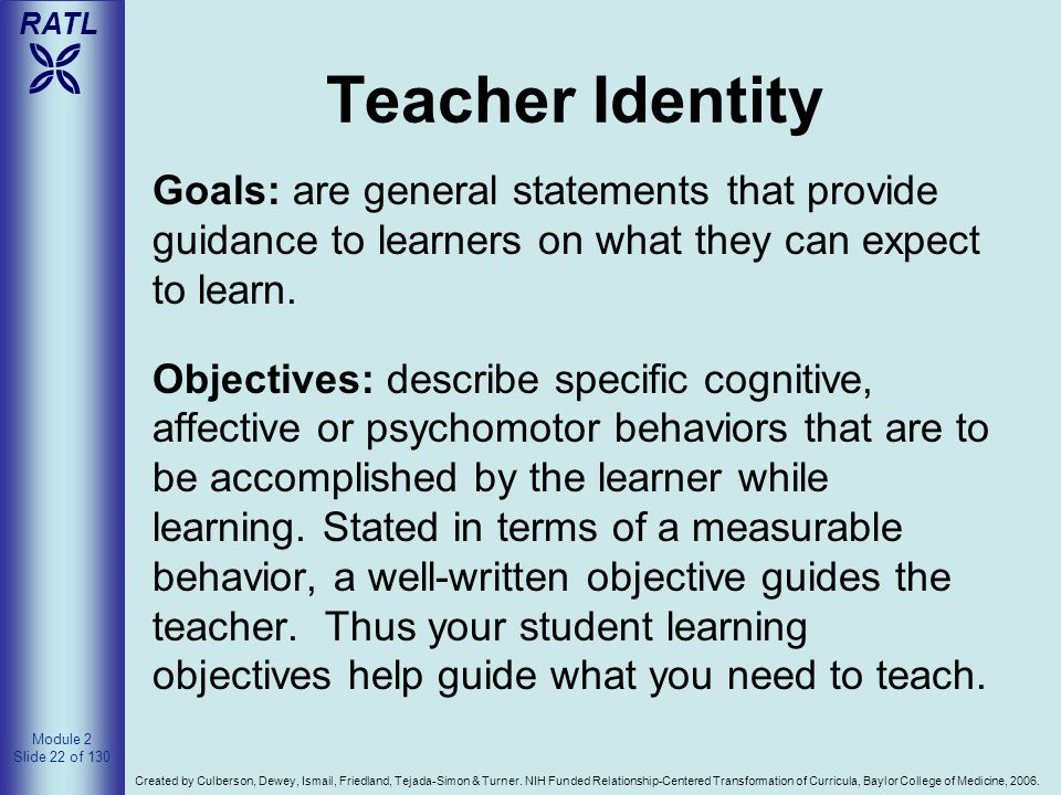 4/14/2017 Teacher Identity. Goals: are general statements that provide guidance to learners on what they can expect to learn.