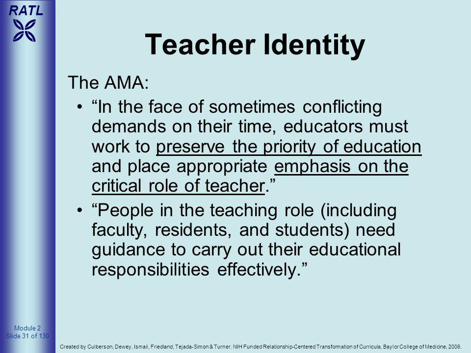 Teacher Identity The AMA: