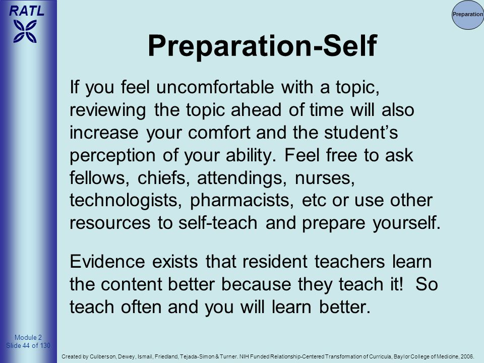 4/14/2017 Preparation. Preparation-Self.
