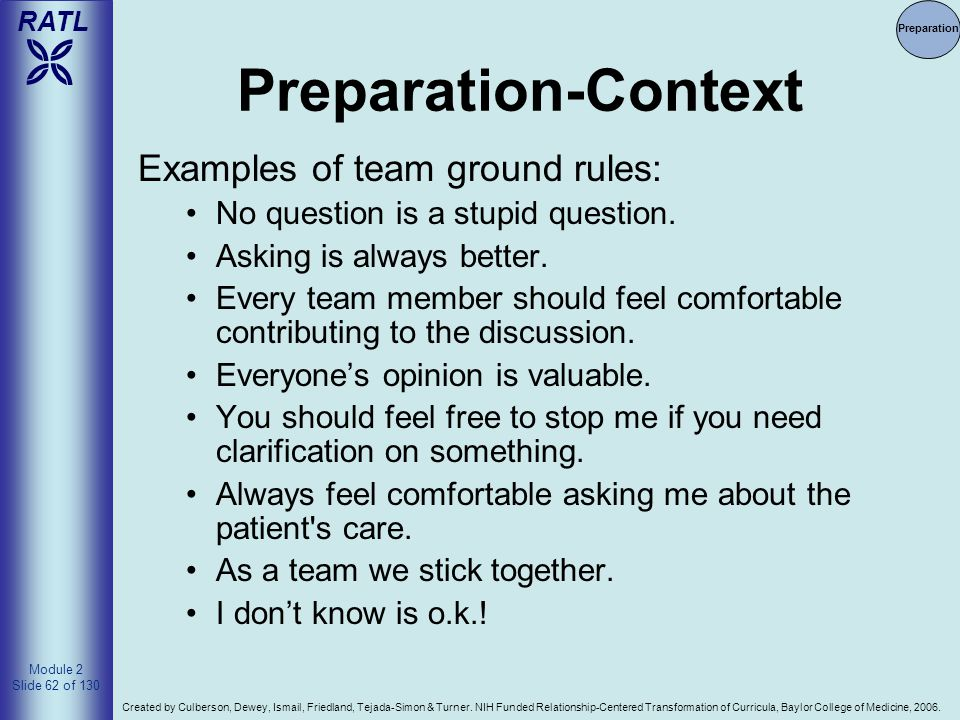 Preparation-Context Examples of team ground rules: