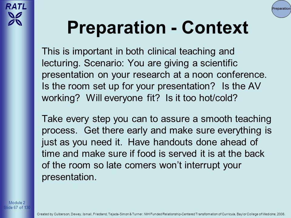 Preparation Preparation - Context.