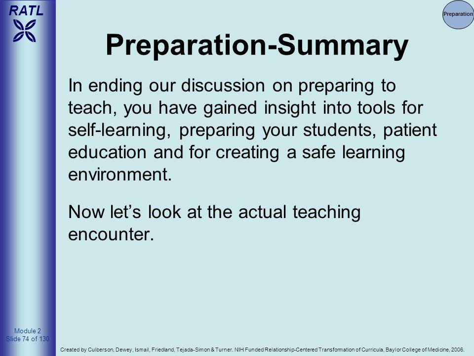 Preparation Preparation-Summary.
