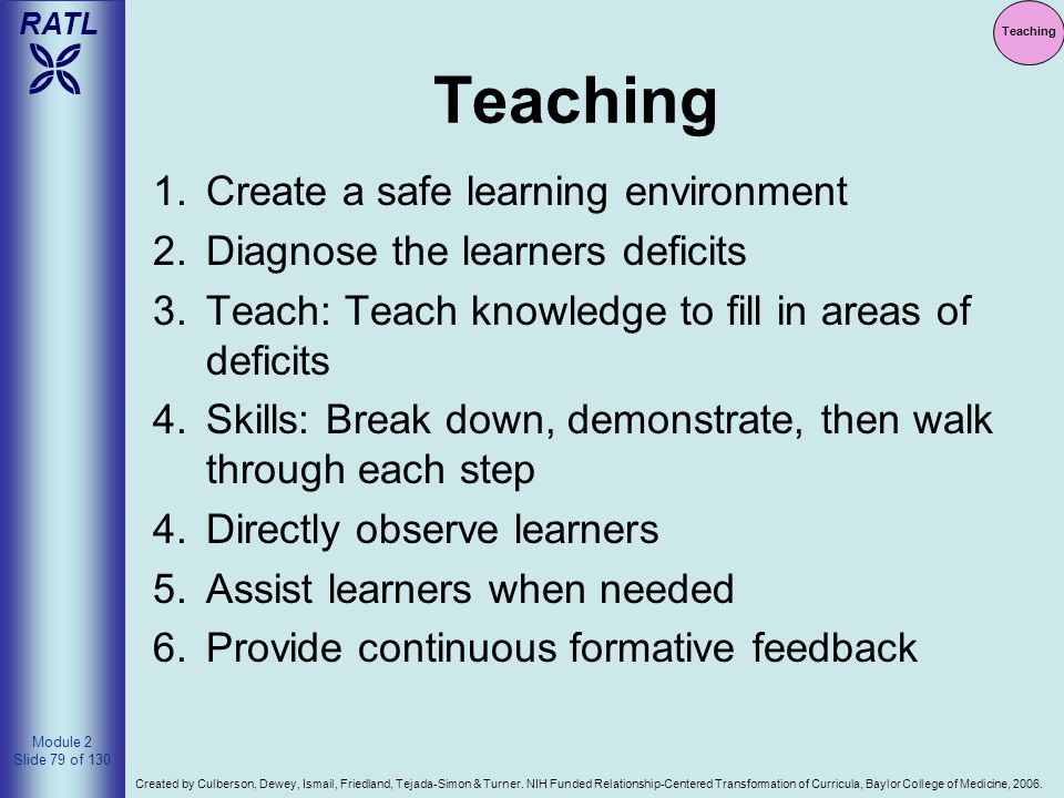Teaching Create a safe learning environment