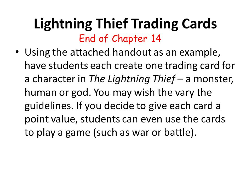 Lightning Thief Trading Cards