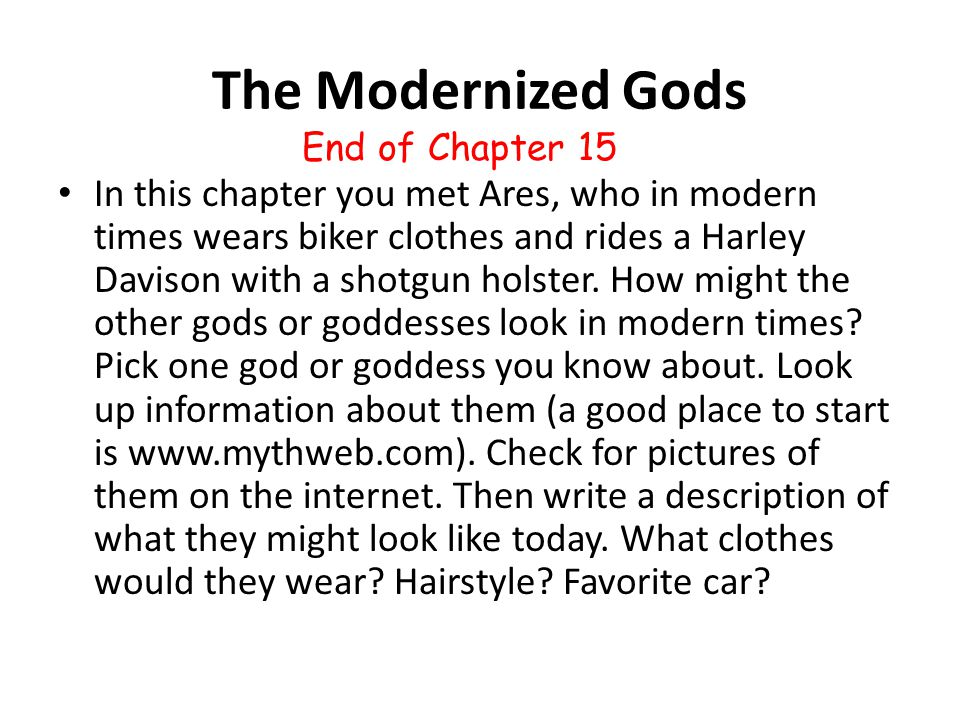 The Modernized Gods End of Chapter 15.
