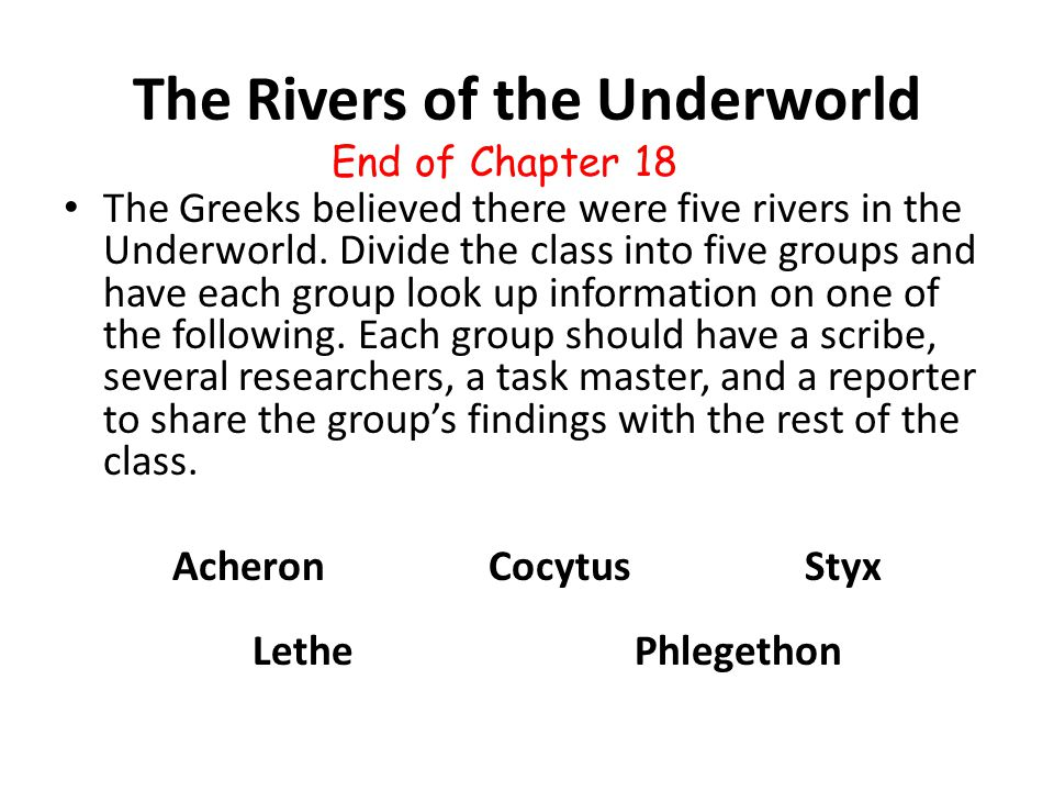 The Rivers of the Underworld