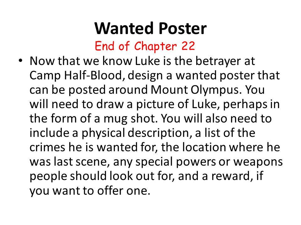 Wanted Poster End of Chapter 22.