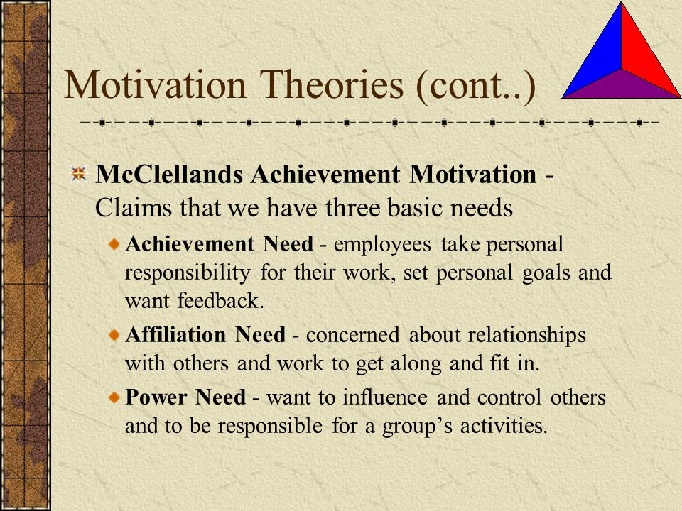 Motivation Theories (cont..)