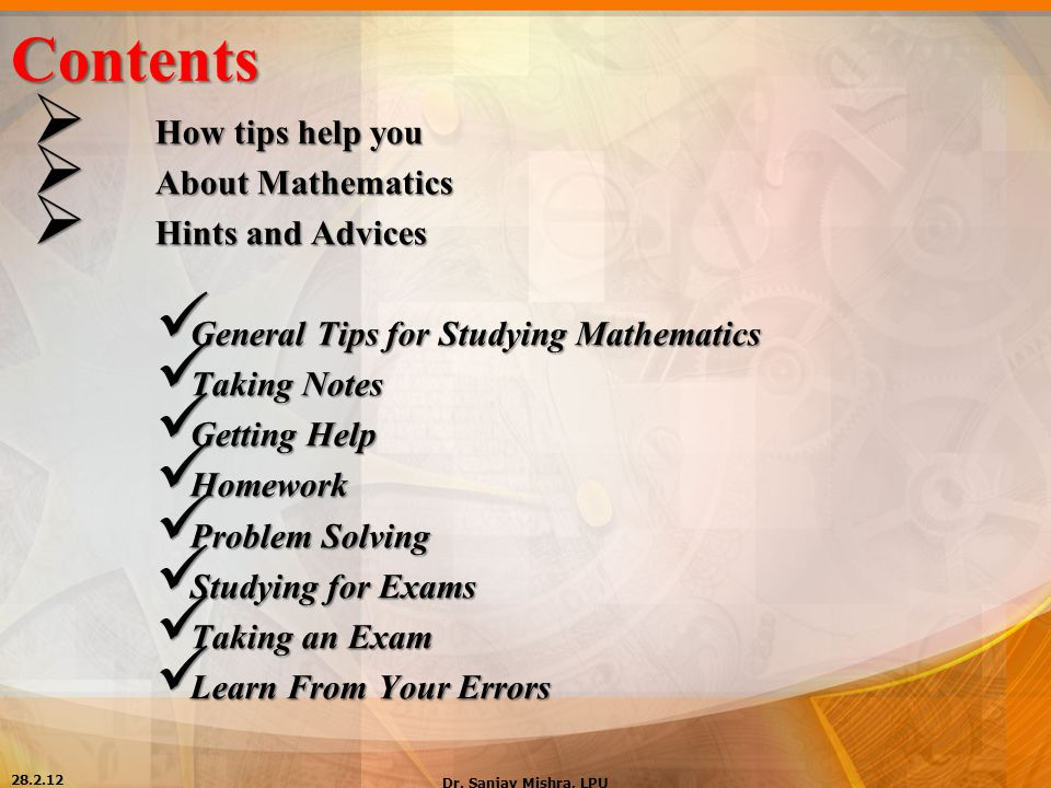 Contents How tips help you About Mathematics Hints and Advices