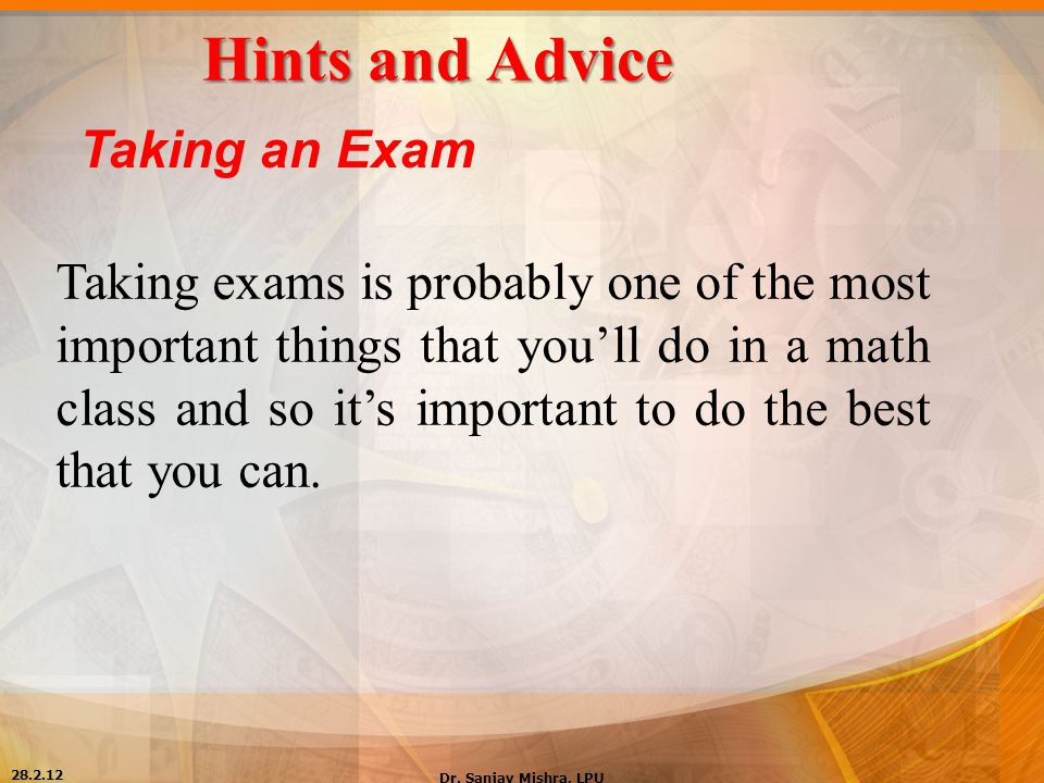 Hints and Advice Taking an Exam