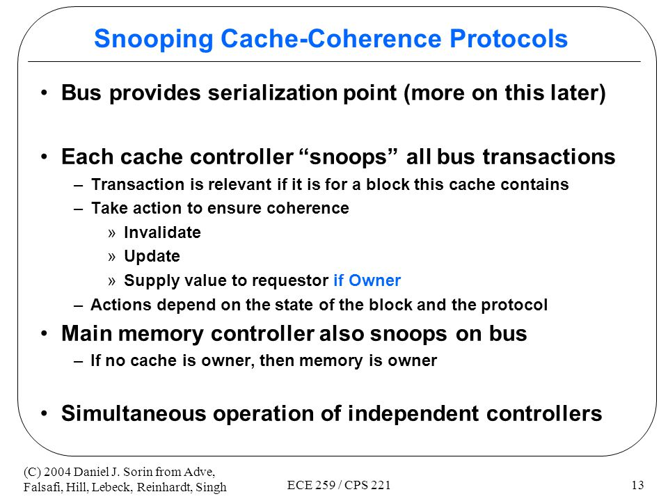 Snooping Cache-Coherence Protocols