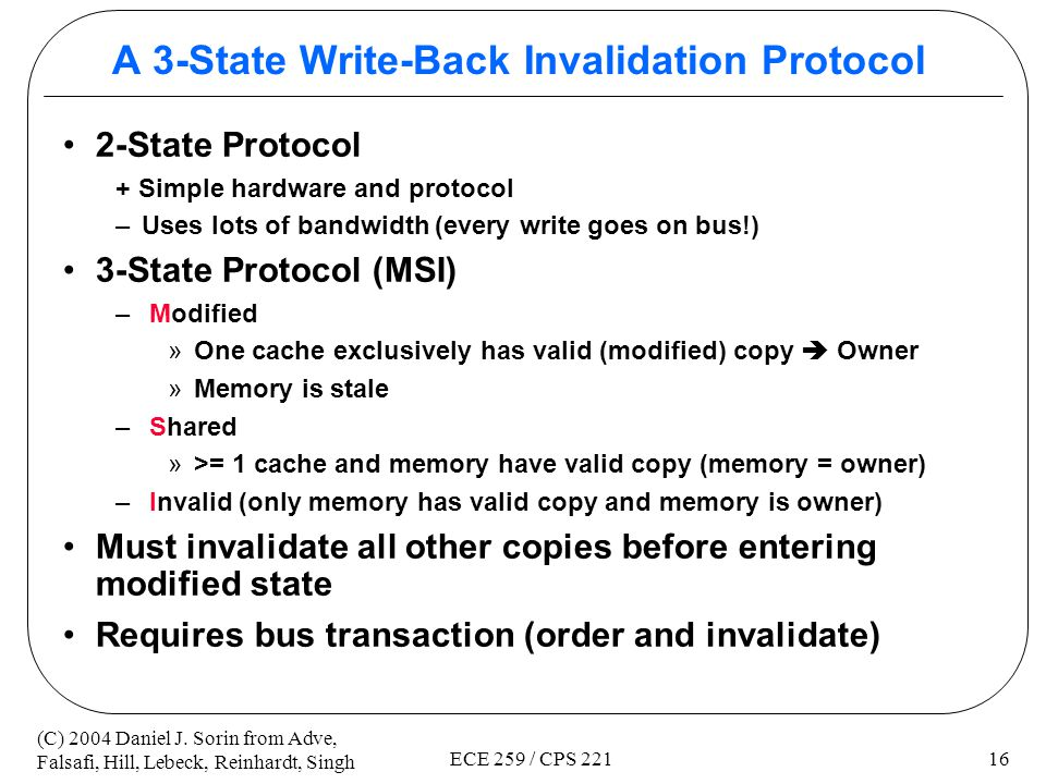 A 3-State Write-Back Invalidation Protocol