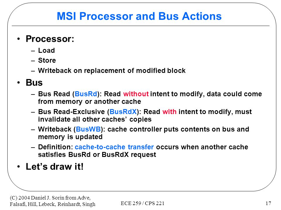 MSI Processor and Bus Actions