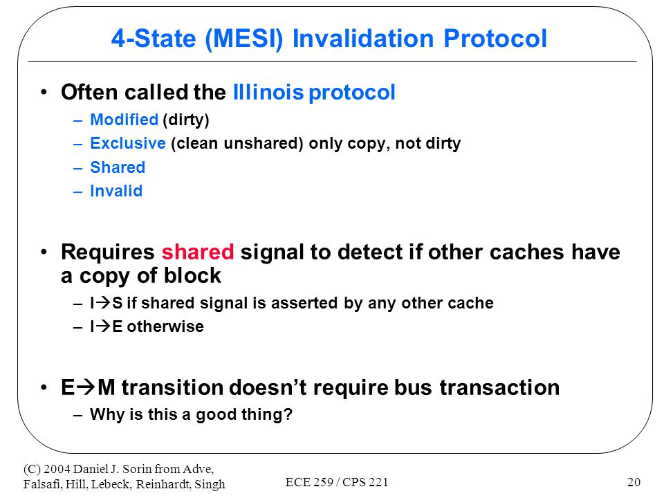 4-State (MESI) Invalidation Protocol
