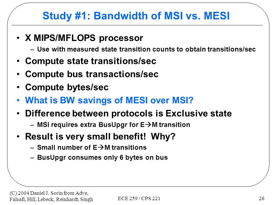 Study #1: Bandwidth of MSI vs. MESI