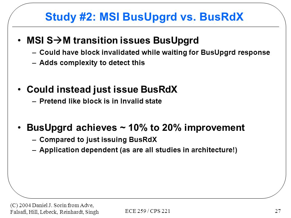 Study #2: MSI BusUpgrd vs. BusRdX