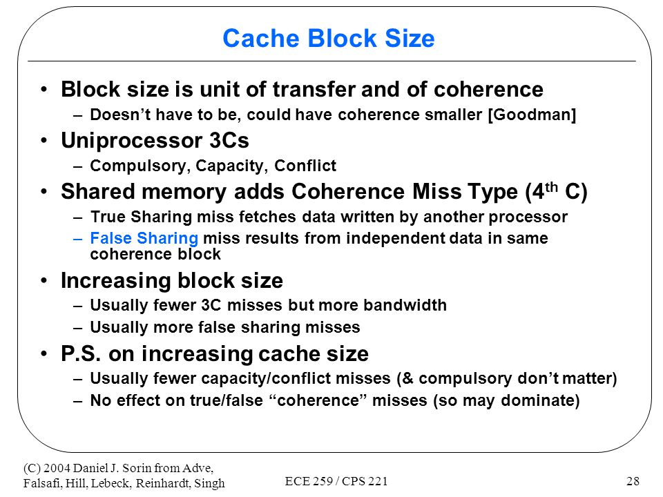 Cache Block Size Block size is unit of transfer and of coherence